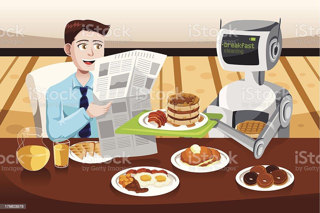Robot serving breakfast royalty-free stock vector art