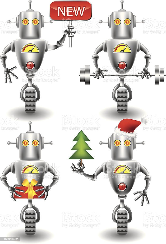 robot set royalty-free stock vector art