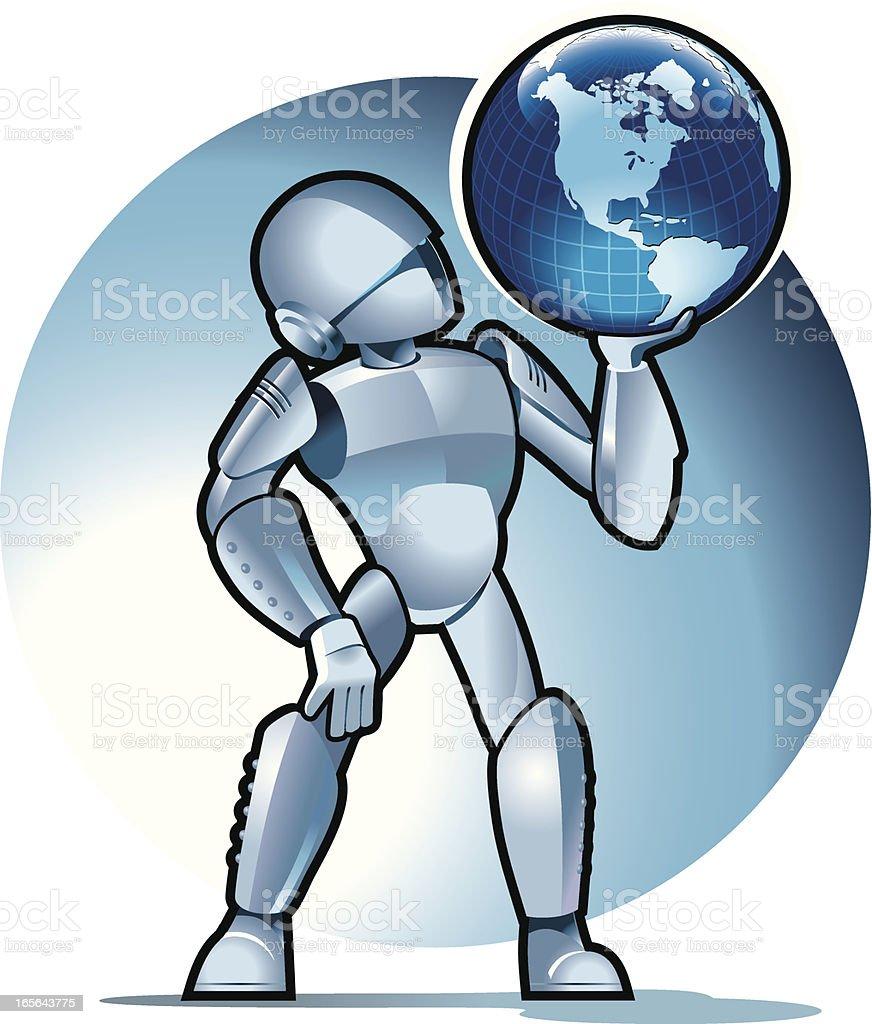 Robot sith the Globe royalty-free stock vector art