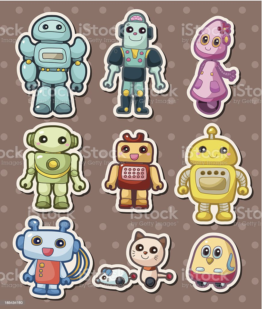 robot stickers royalty-free stock vector art
