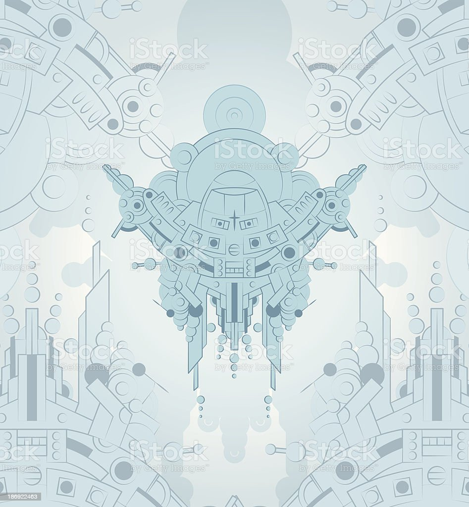 Robot techno aliens space background royalty-free stock vector art