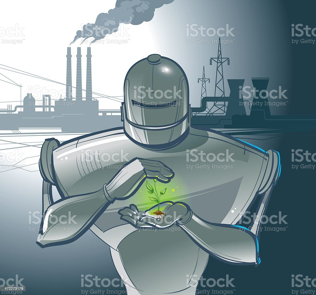 robot that protects a plant vector art illustration