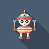 Robot top toy flat square icon with long shadows.