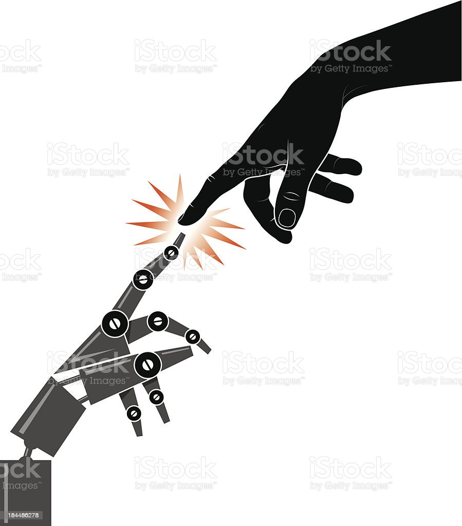 Robot touch royalty-free stock vector art
