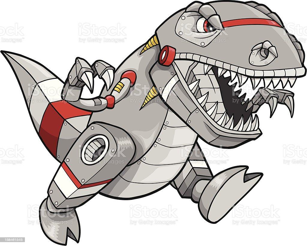 Robot Tyrannosaurus Dinosaur vector art illustration