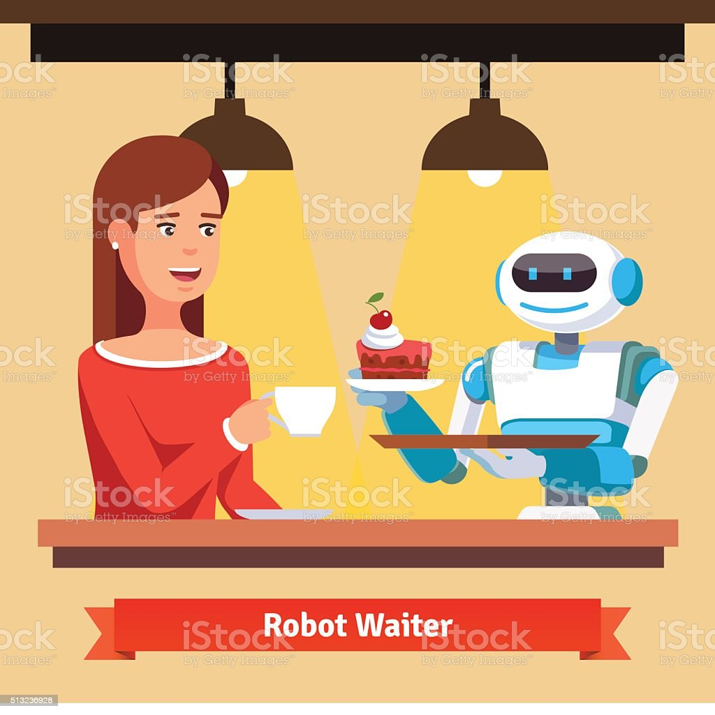Robot waiter serving coffee and cake vector art illustration