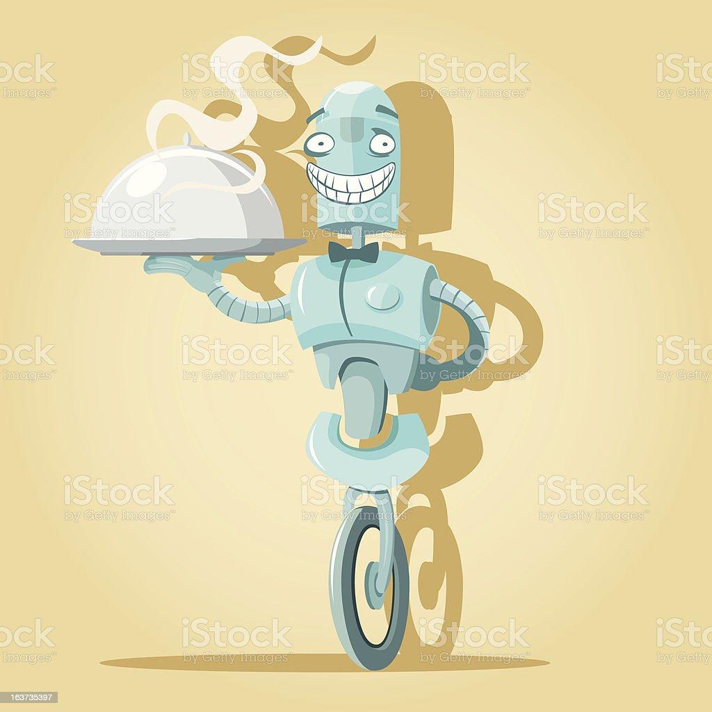 Robot waiter vector art illustration