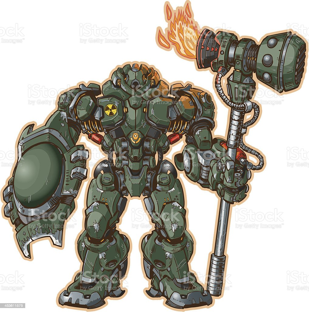 robot warrior with shield and hammer royalty-free stock vector art