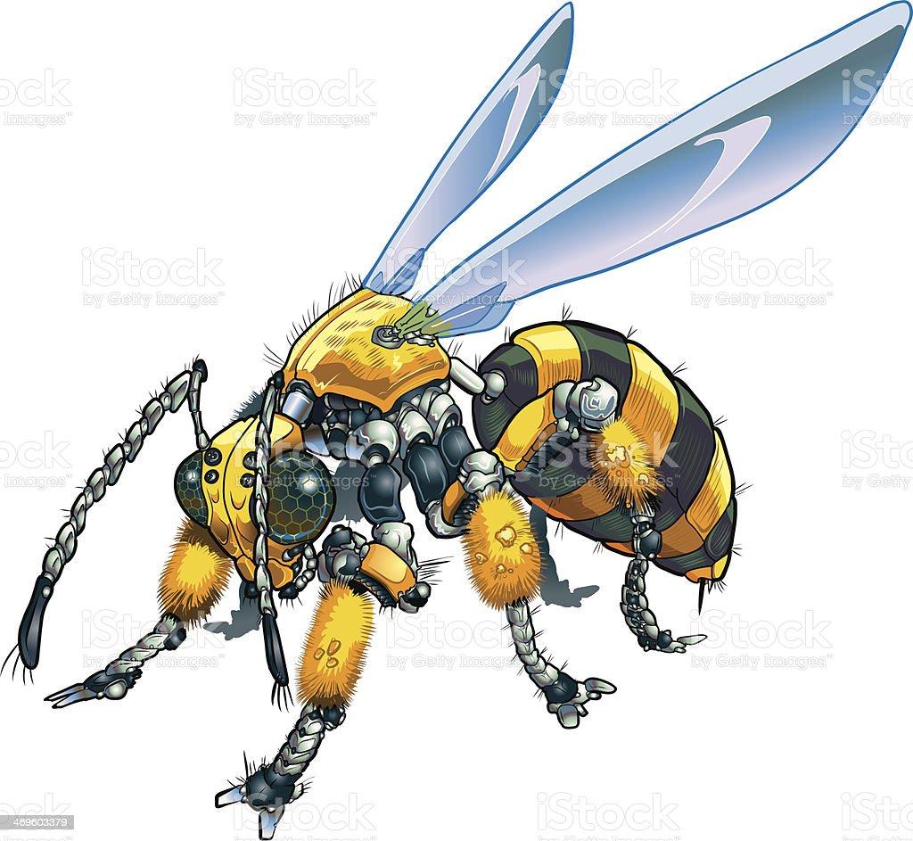 Robot Wasp Vector Clip Art Illustration royalty-free stock vector art