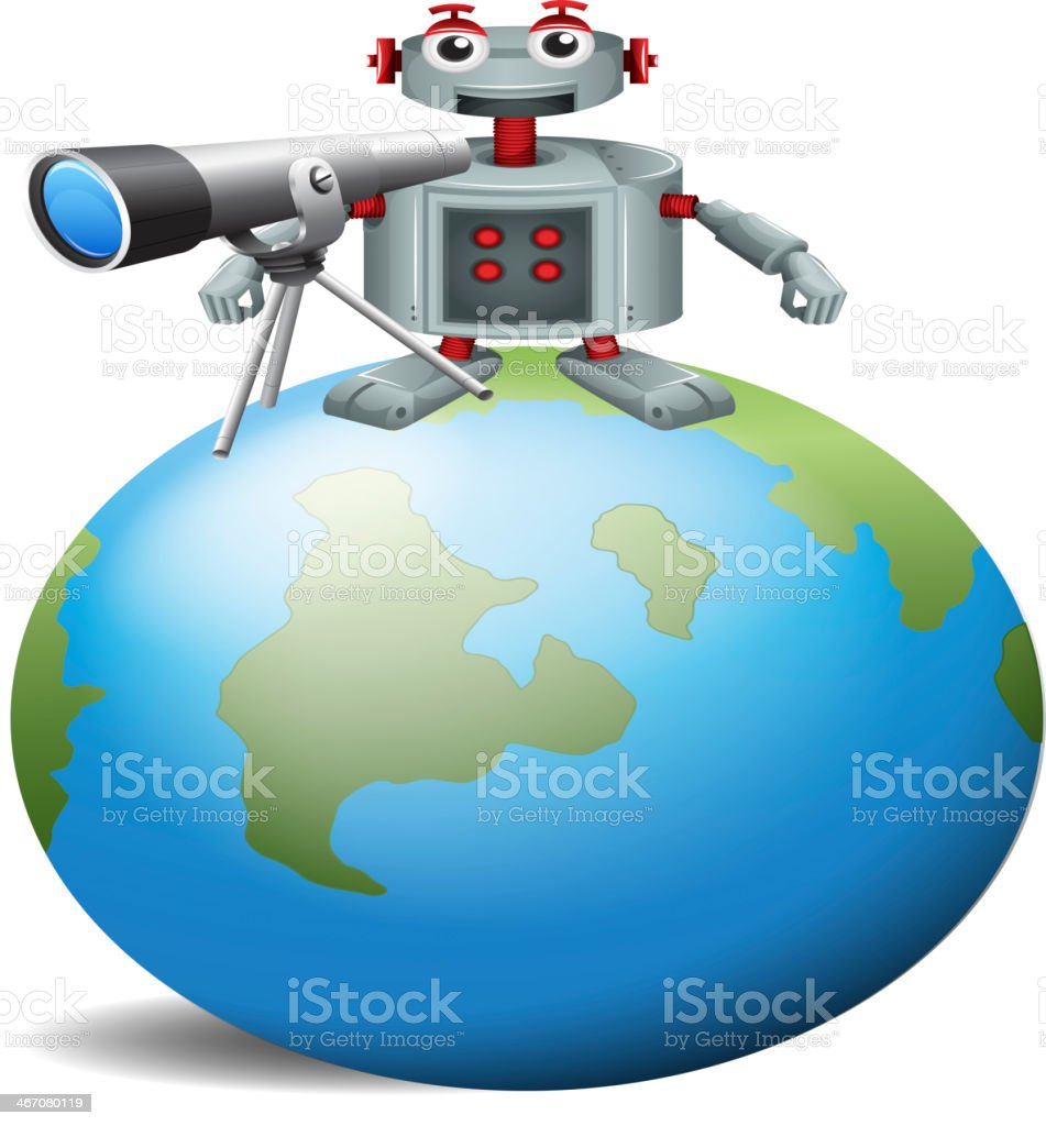 Robot with a telescope above the planet earth royalty-free stock vector art