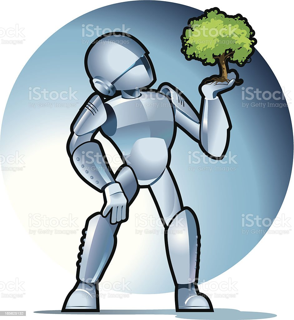 Robot with a tree vector art illustration