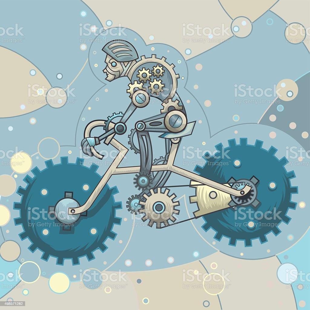robot-blue-biking vector art illustration