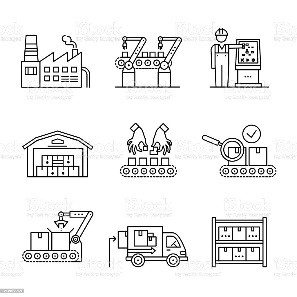Robotic and manual manufacturing assembly lines vector art illustration