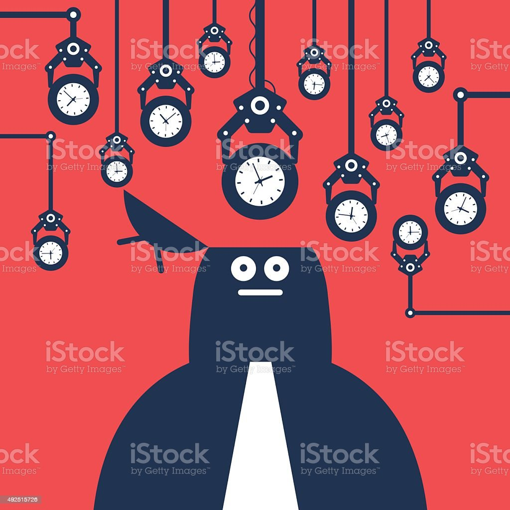 Robotic arms putting time clocks into man's opened head vector art illustration