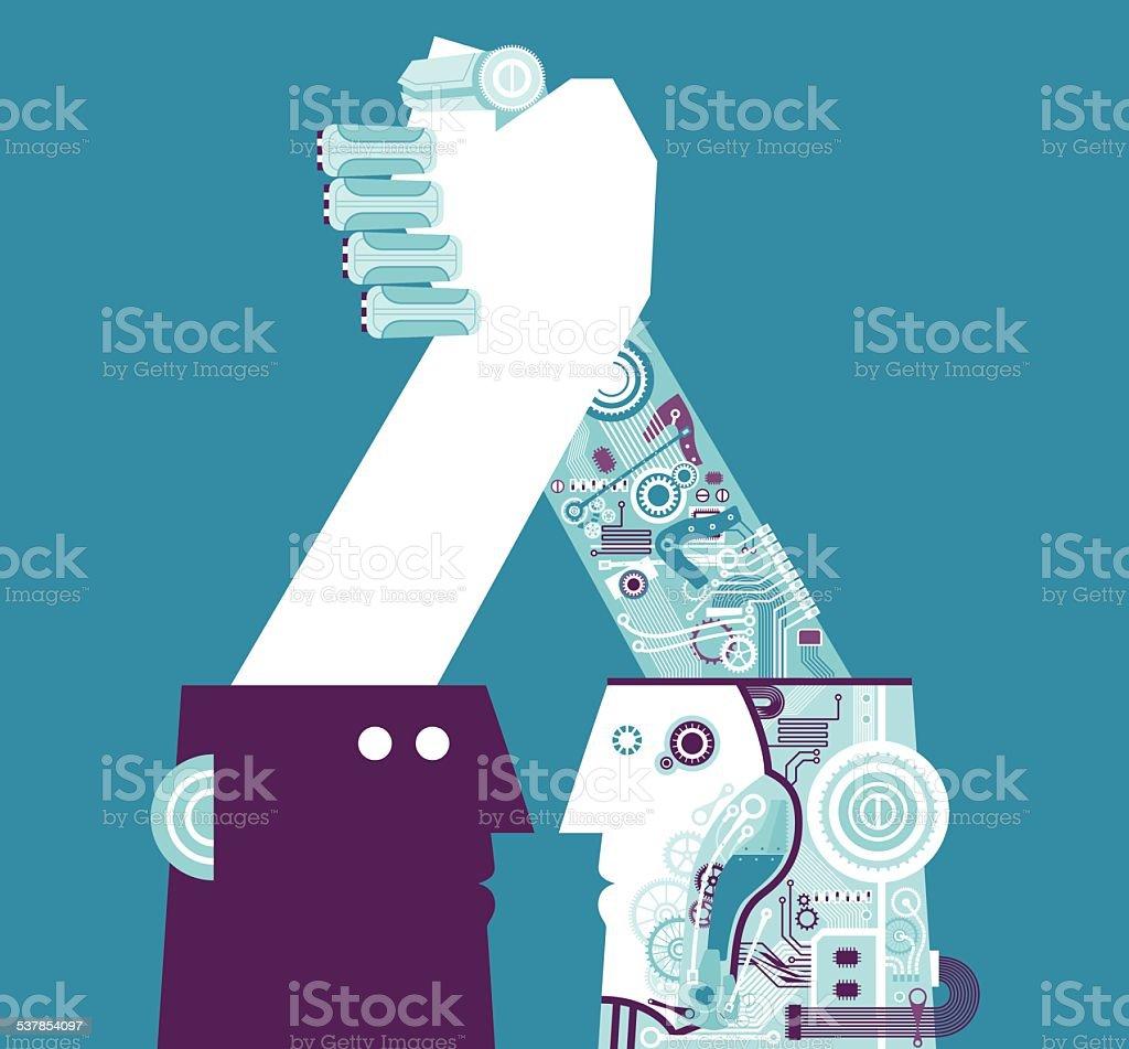 Robotic Handshake vector art illustration