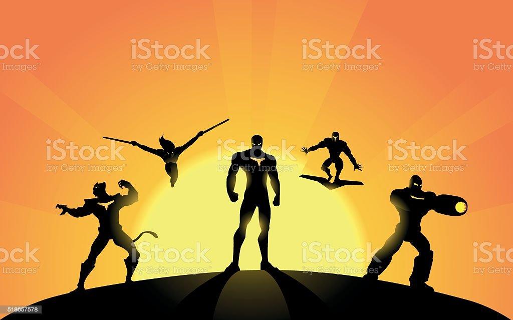 Robotic Superhero Team Silhouette vector art illustration