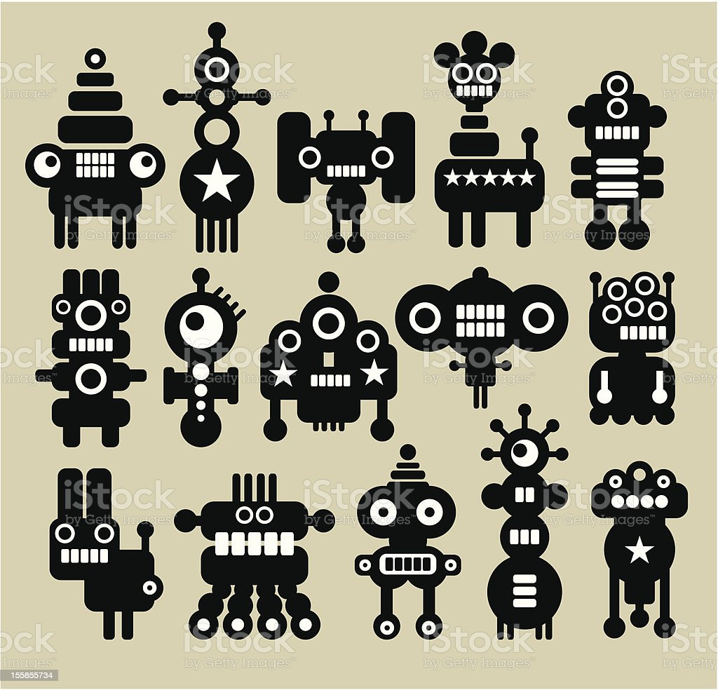 Robots and monsters. vector art illustration