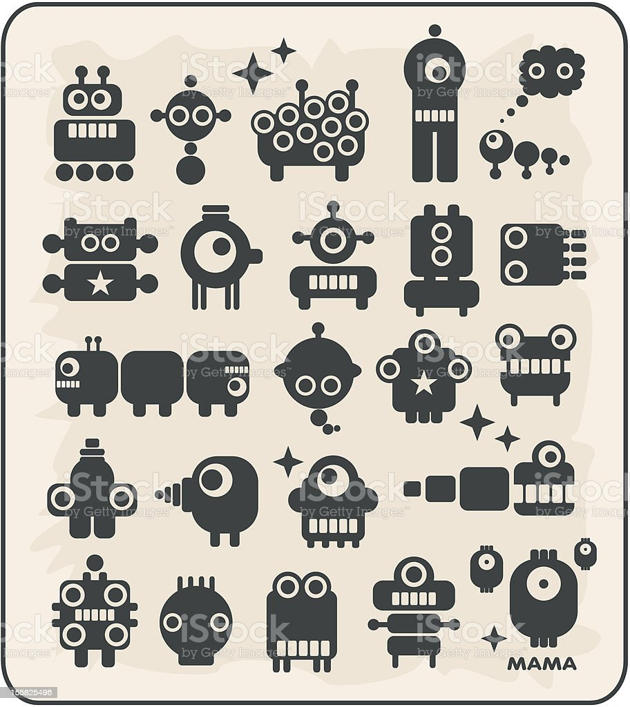Robots, monsters, aliens collection #2. vector art illustration