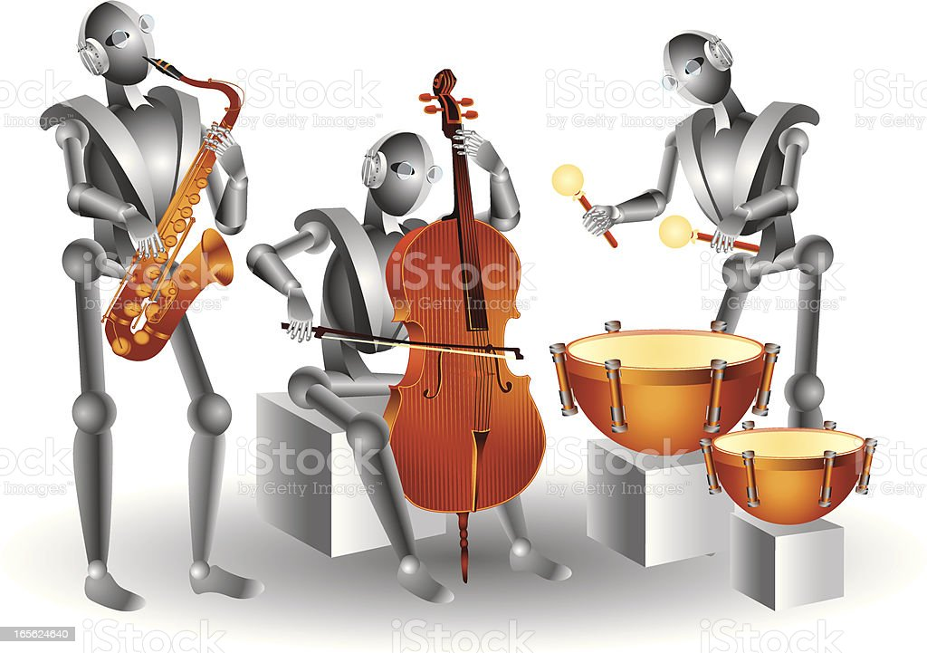 Robots musicians royalty-free stock vector art