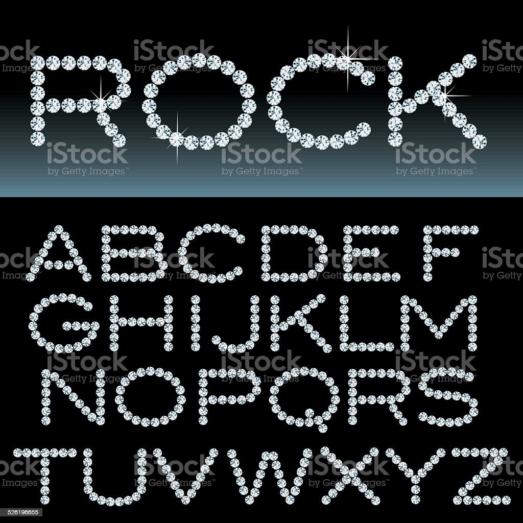 rock alphabet vector art illustration
