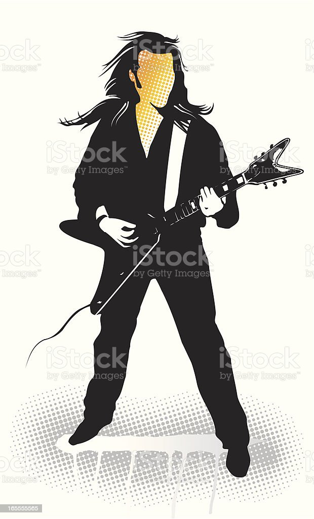 Rock and Rol Guitarist isolated. royalty-free stock vector art