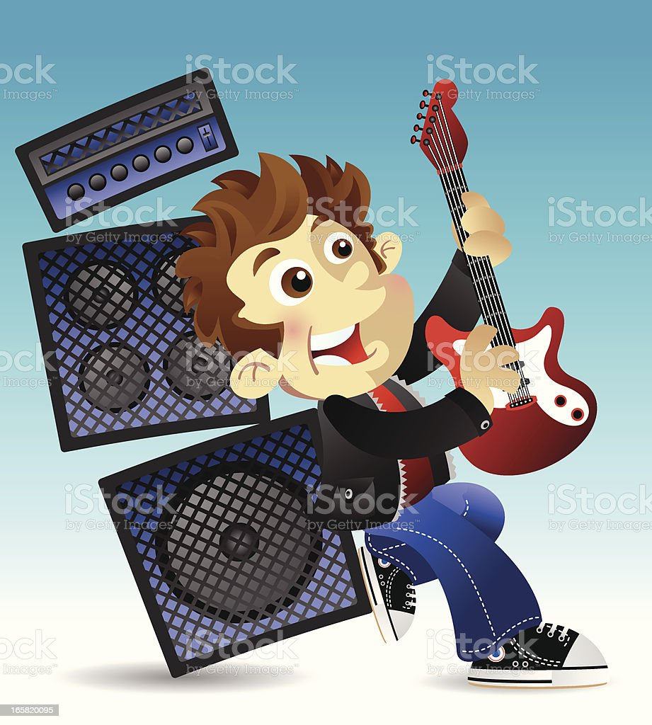 Rock and roll boy vector art illustration