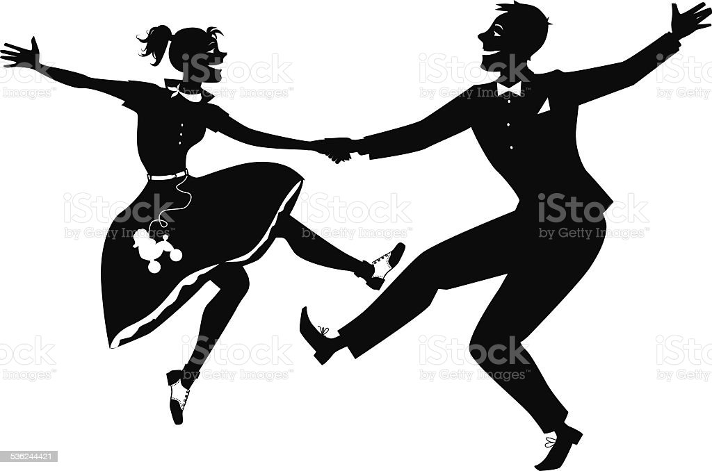 Rock and roll dancing silhouette vector art illustration