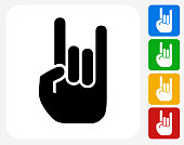 Rock and Roll Hand Icon Flat Graphic Design