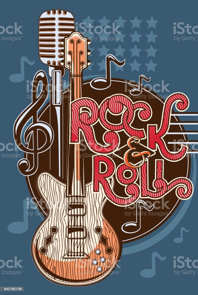 Rock and roll music poster vector art illustration