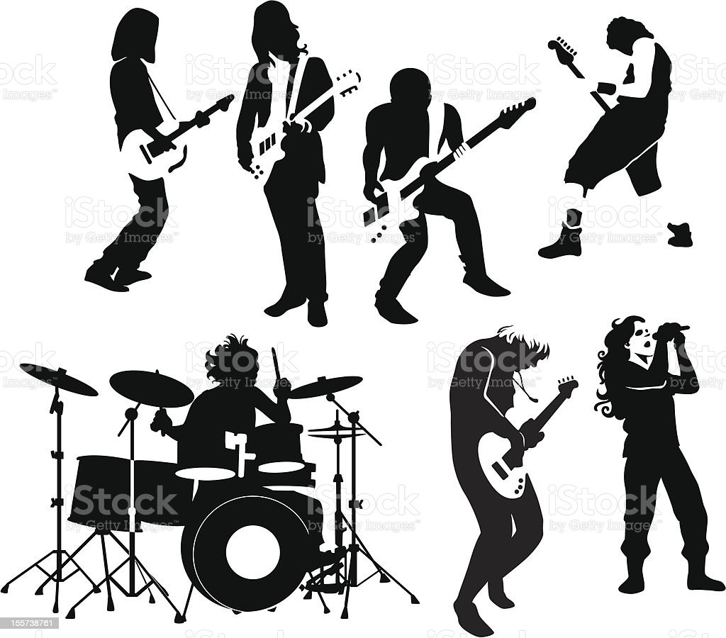 rock and roll musicians vector art illustration