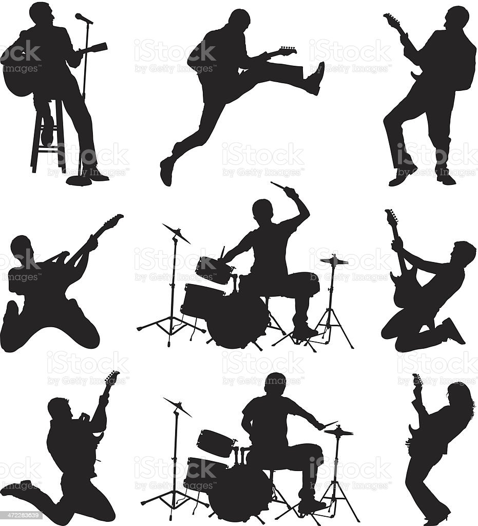 Rock and roll rockers rocking out vector art illustration