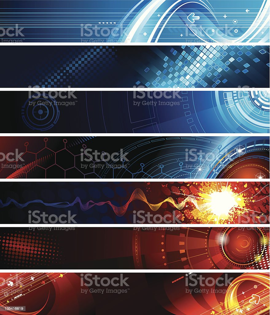 Rock and roll web banners in blue and red  royalty-free stock vector art