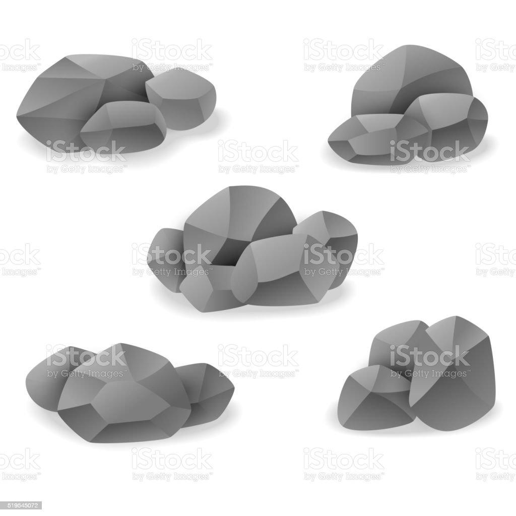 Rock and stone art sets vector art illustration