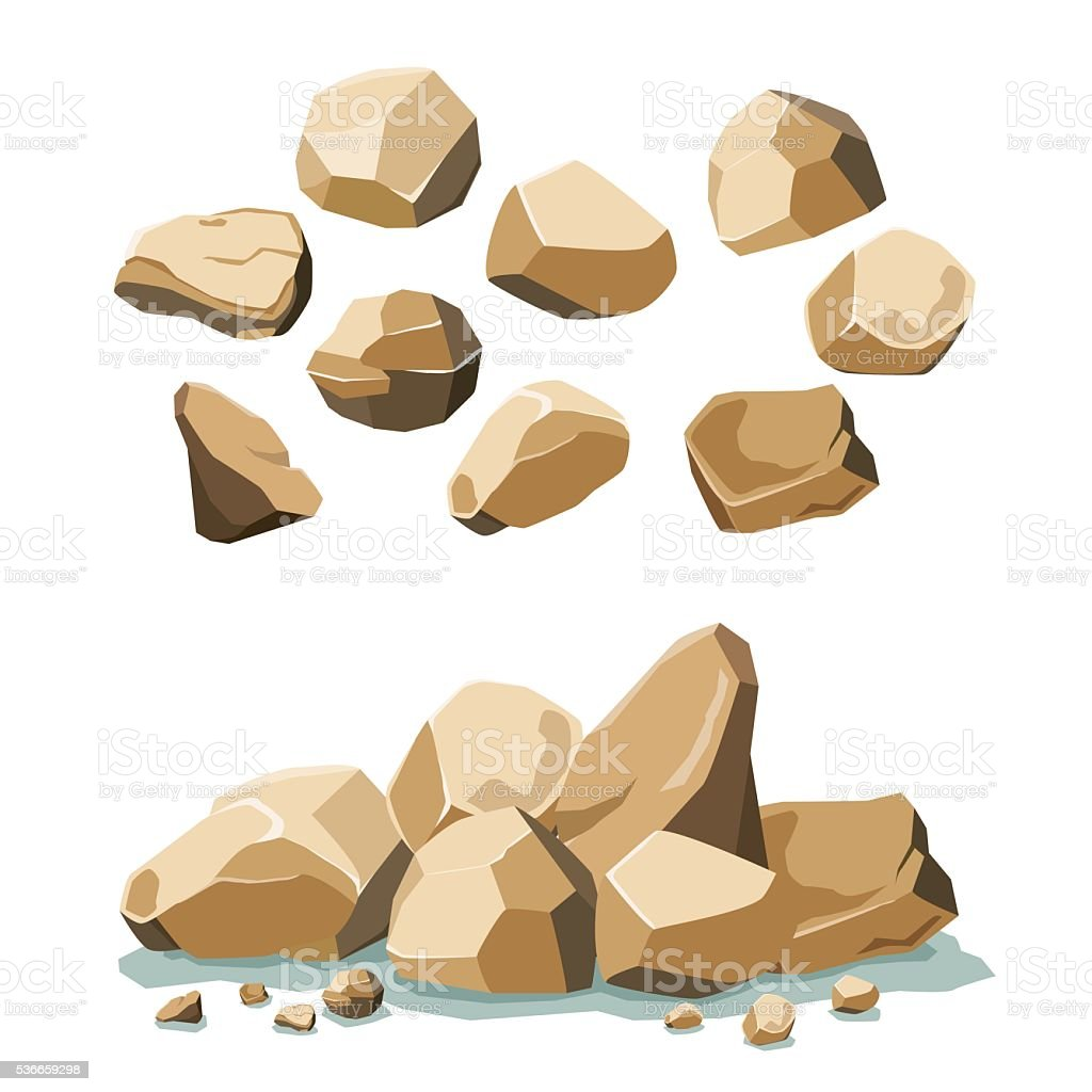 rock and stone set vector art illustration