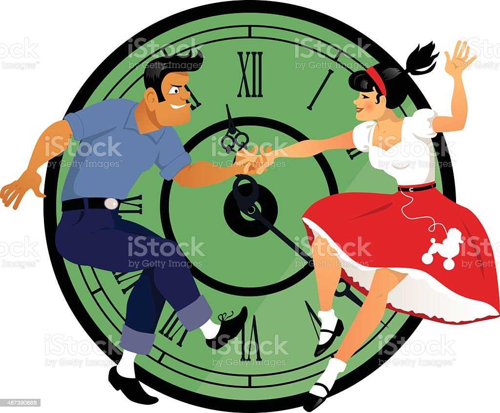 Rock around the clock vector art illustration