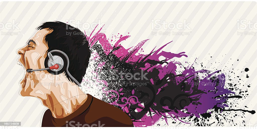 Rock artist singing. royalty-free stock vector art