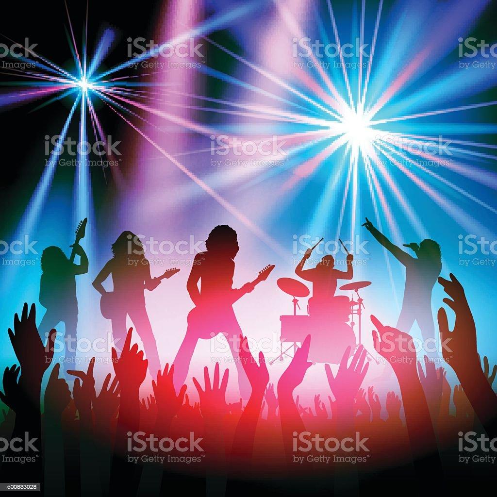 Rock band concert vector art illustration