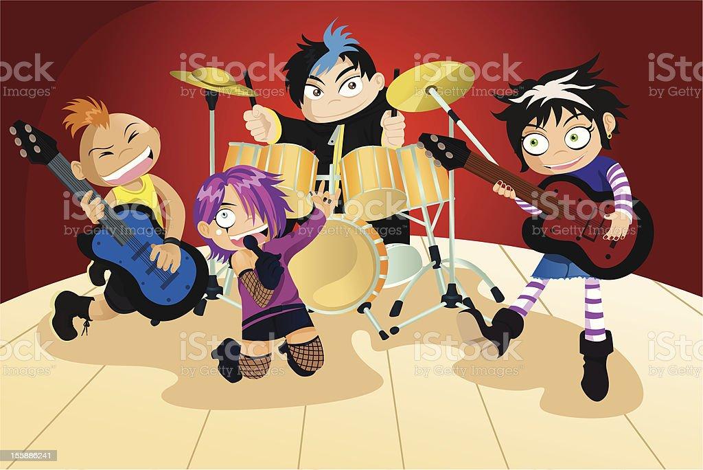 Rock band of four little kids vector art illustration