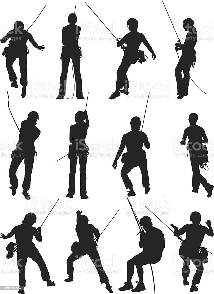 Rock climber in action royalty-free stock vector art