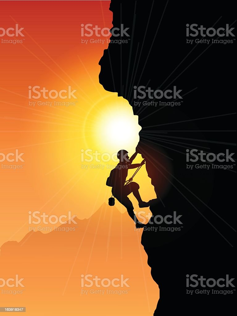 A rock climber silhouetted against the sunset vector art illustration