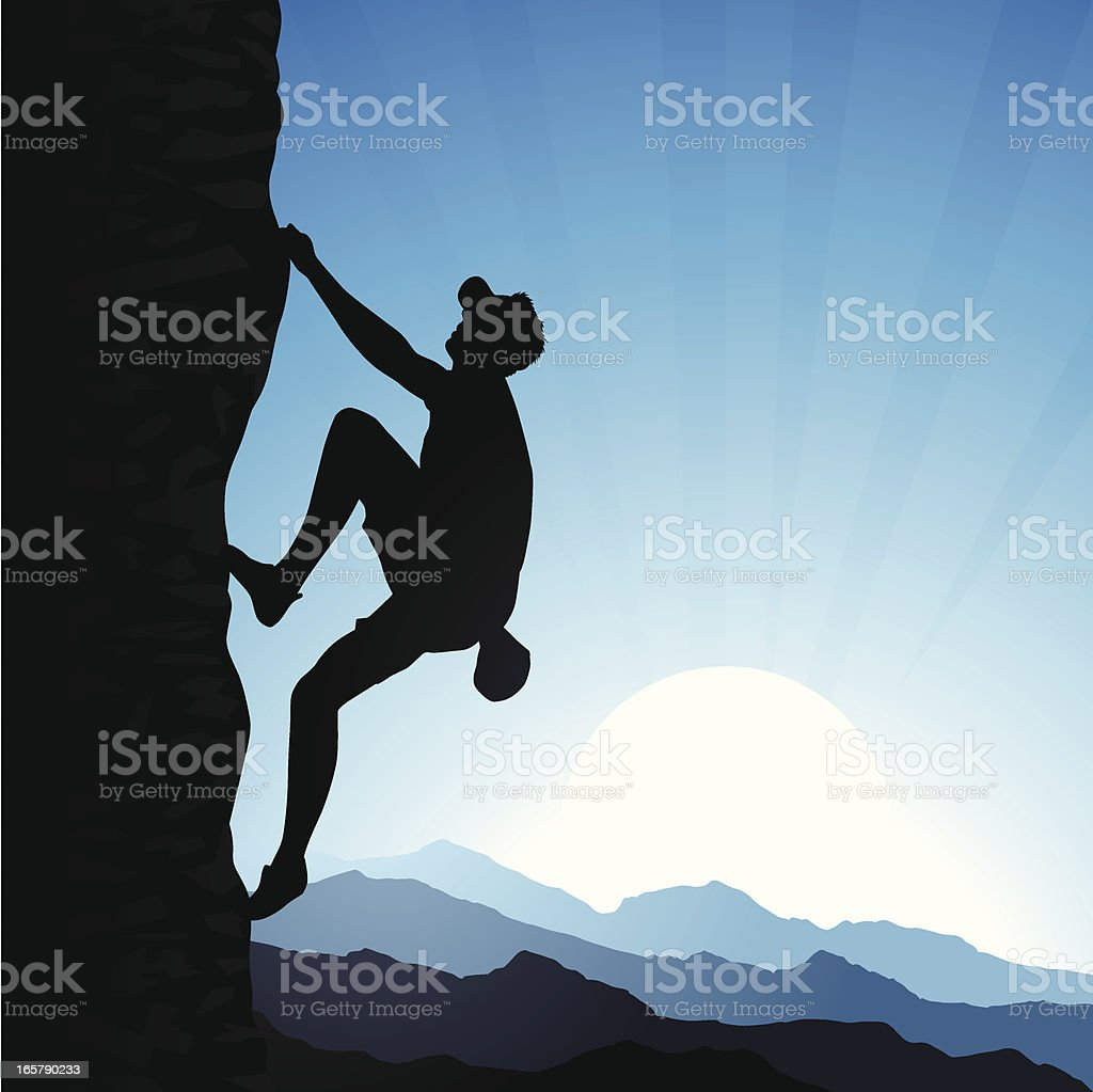 Rock Climber vector art illustration