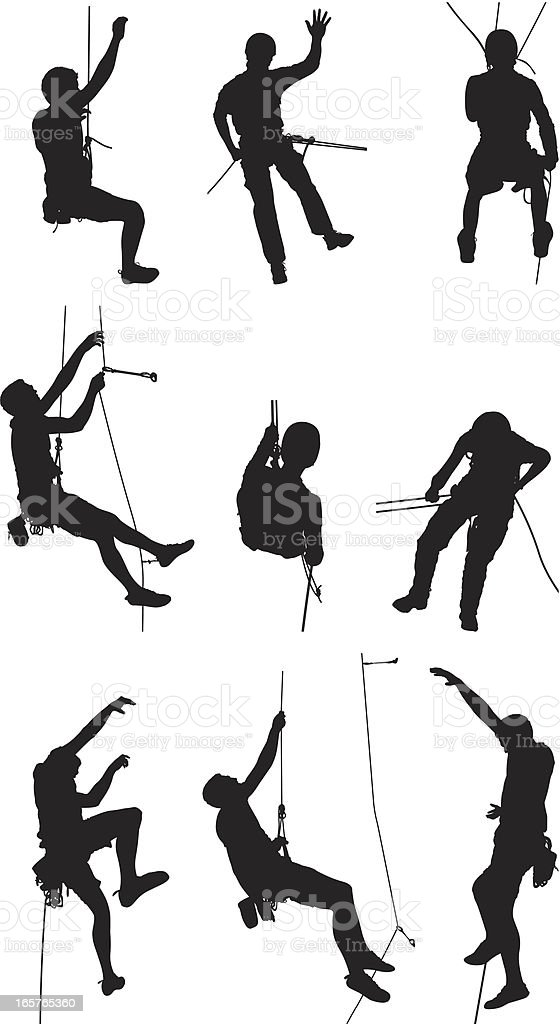 Rock climbing and rappelling vector art illustration