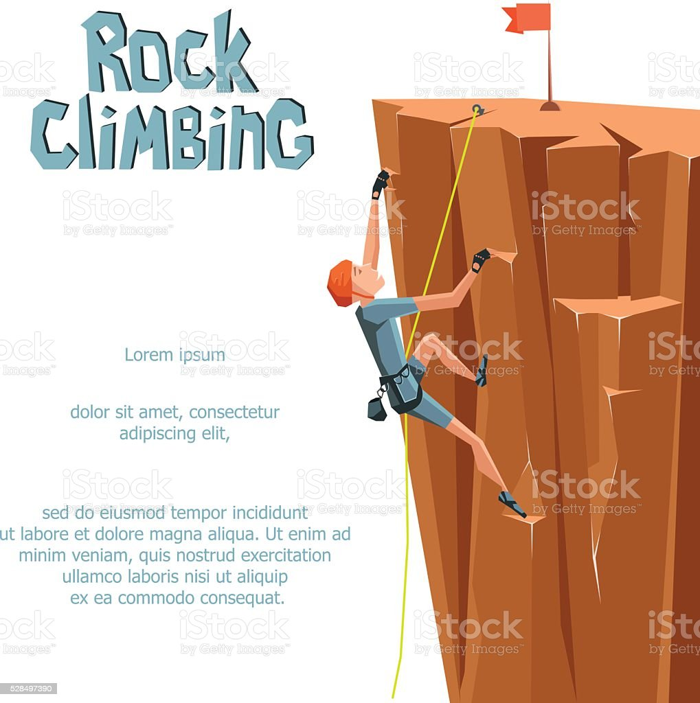 Rock Climbing boy on a rock mountain vector art illustration