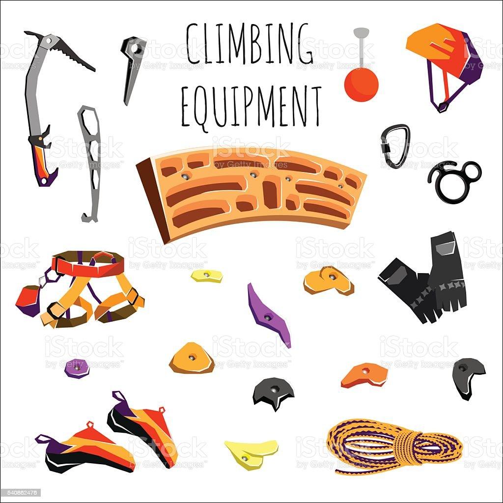 rock climbing equipment vector art illustration