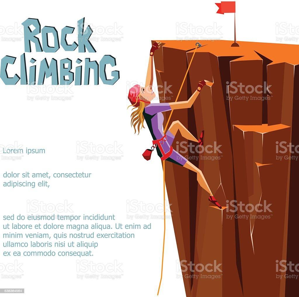 Rock Climbing girl. vector art illustration