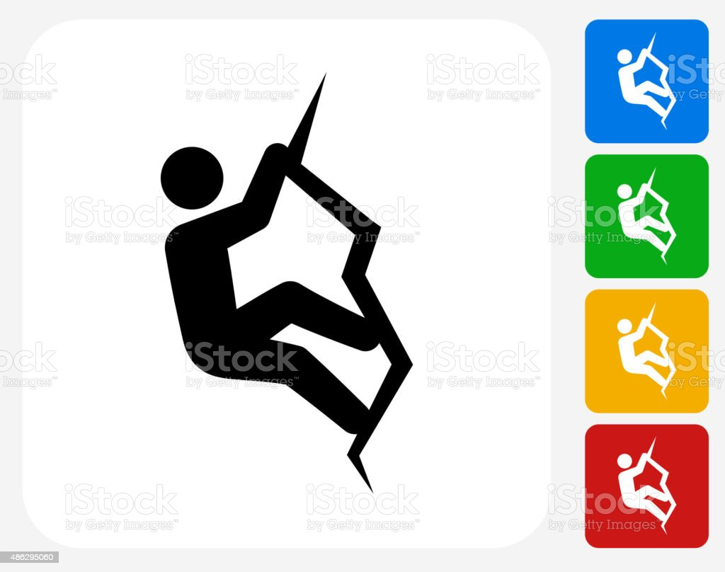 Rock Climbing Icon Flat Graphic Design vector art illustration