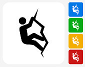 Rock Climbing Icon Flat Graphic Design