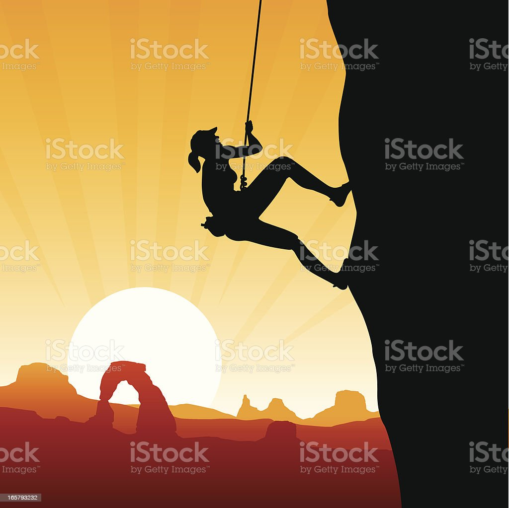 Rock Climbing vector art illustration