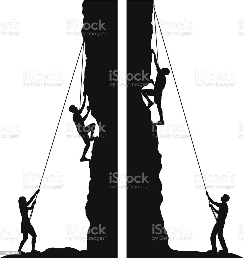 Rock Climbing vector art illustration