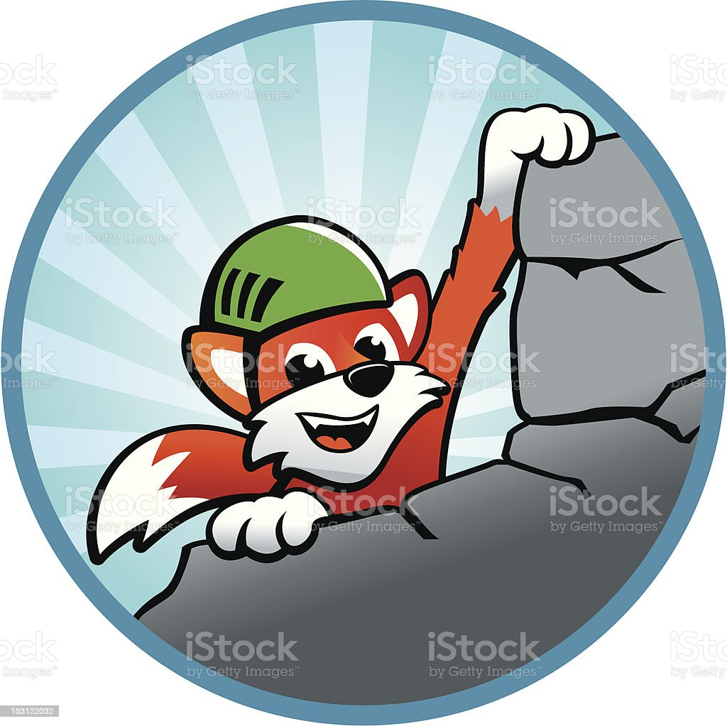 Rock climbing with Flix, the sly fox vector art illustration